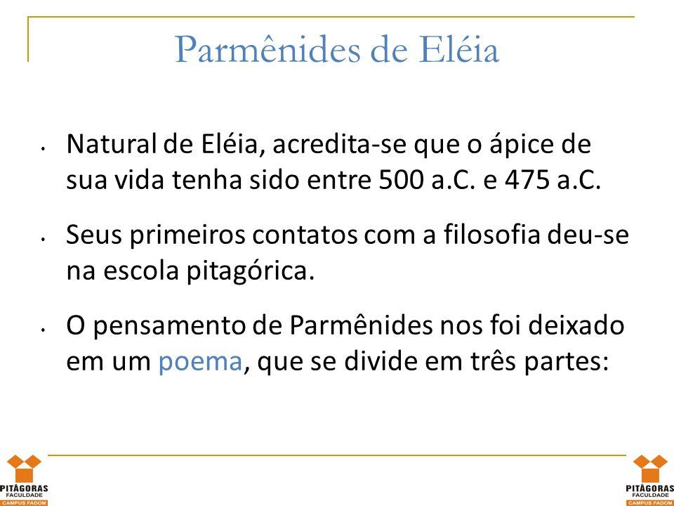 Parmênides de Eléia Natural de Eléia, acredita-se que o ápice de sua vida tenha sido entre 500 a.C. e 475 a.C.
