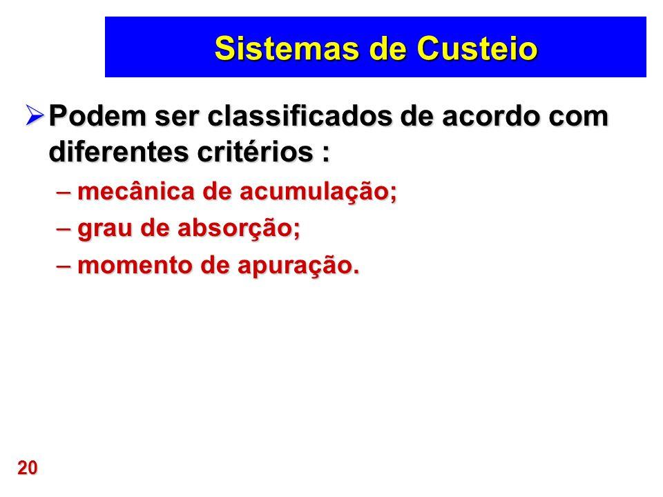 Sistemas de Custeio Podem ser classificados de acordo com diferentes critérios : mecânica de acumulação;