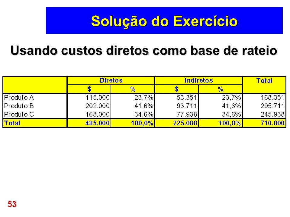 Solução do Exercício Usando custos diretos como base de rateio