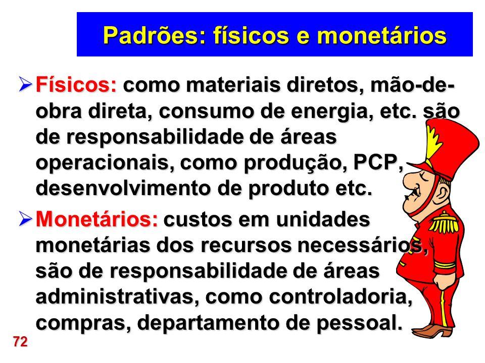 Padrões: físicos e monetários