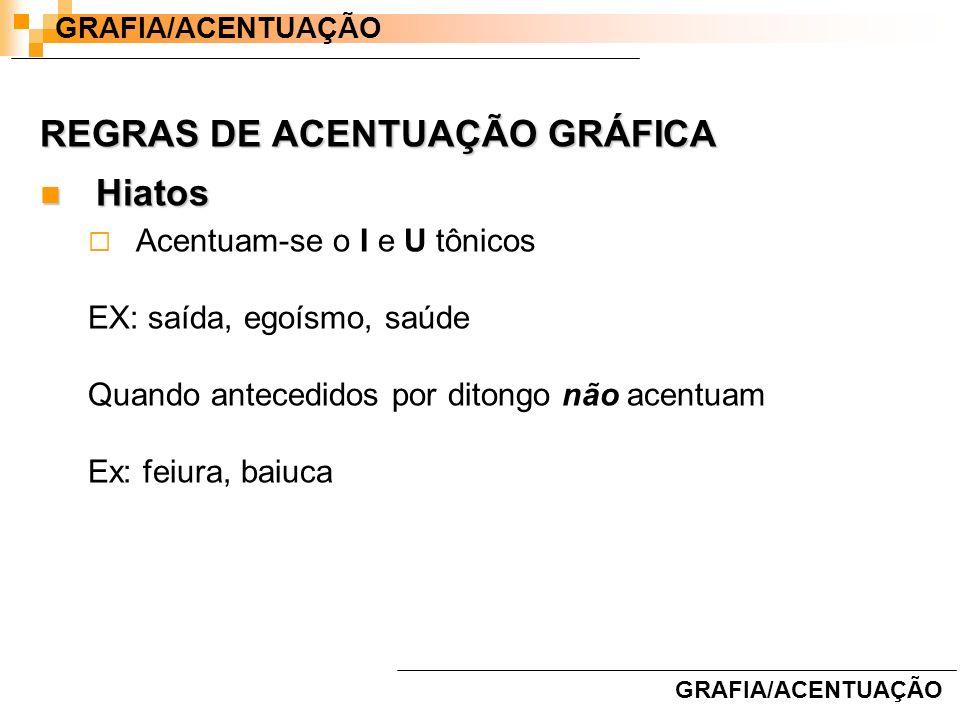REGRAS DE ACENTUAÇÃO GRÁFICA Hiatos