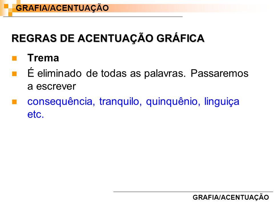 REGRAS DE ACENTUAÇÃO GRÁFICA Trema