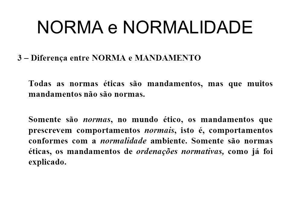 NORMA e NORMALIDADE 3 – Diferença entre NORMA e MANDAMENTO