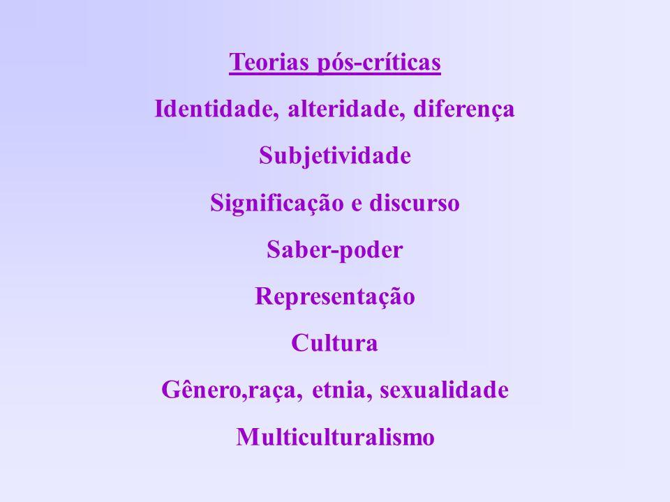 Identidade, alteridade, diferença Subjetividade