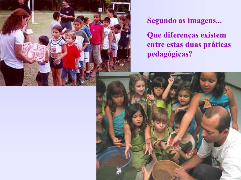 Segundo as imagens... Que diferenças existem entre estas duas práticas pedagógicas