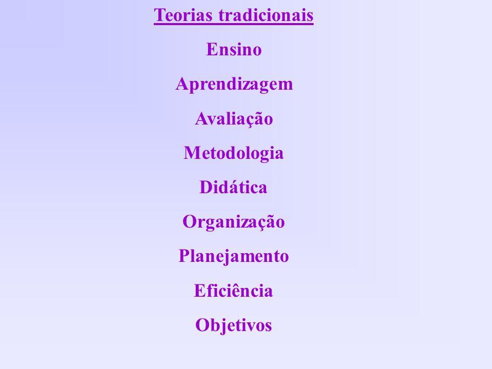 Teorias tradicionais Ensino. Aprendizagem. Avaliação. Metodologia. Didática. Organização. Planejamento.
