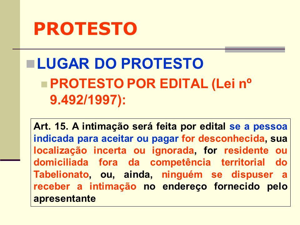 PROTESTO LUGAR DO PROTESTO PROTESTO POR EDITAL (Lei nº 9.492/1997):