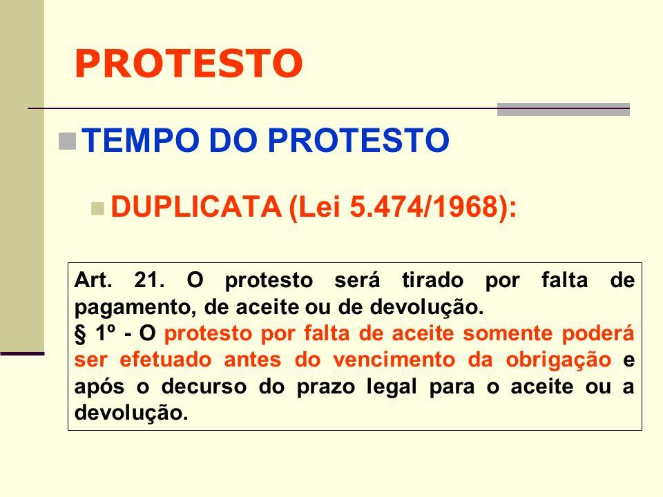 PROTESTO TEMPO DO PROTESTO DUPLICATA (Lei 5.474/1968):