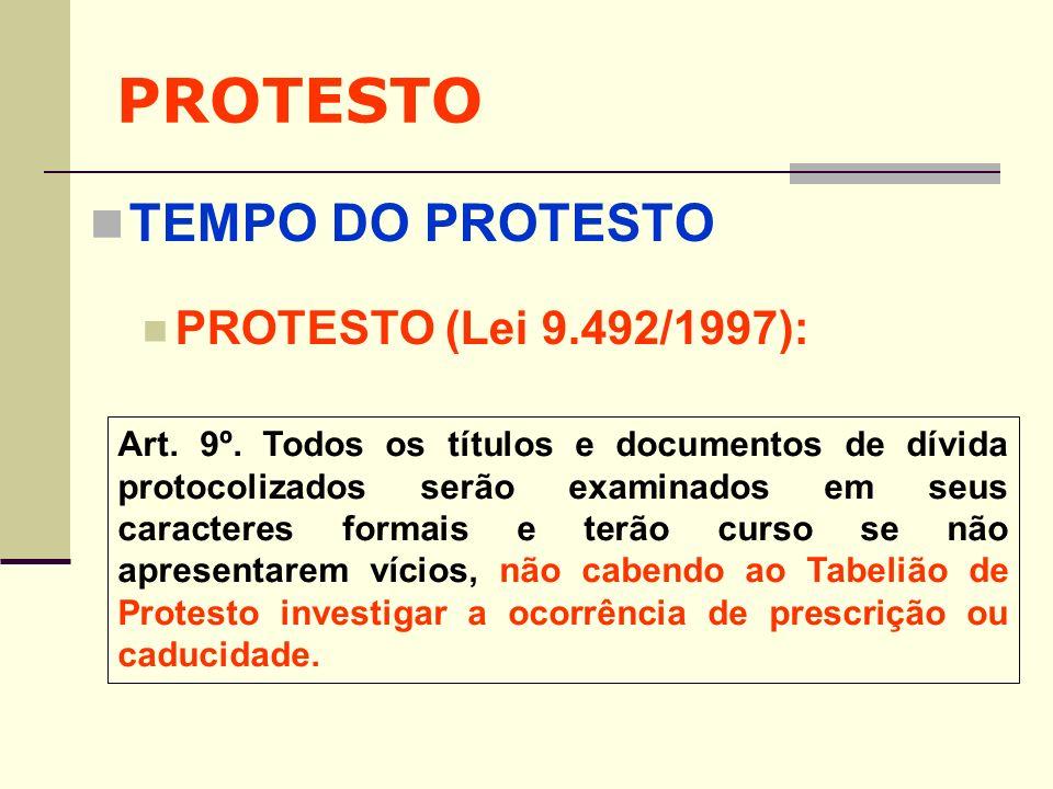 PROTESTO TEMPO DO PROTESTO PROTESTO (Lei 9.492/1997):