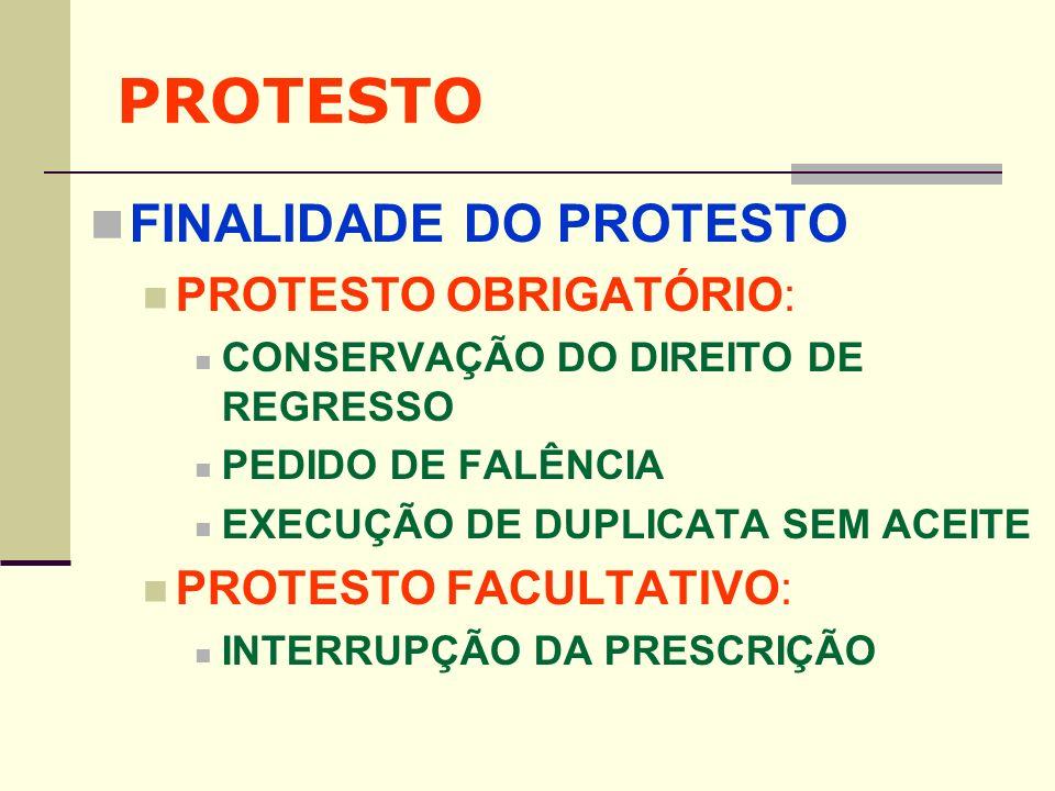 PROTESTO FINALIDADE DO PROTESTO PROTESTO OBRIGATÓRIO: