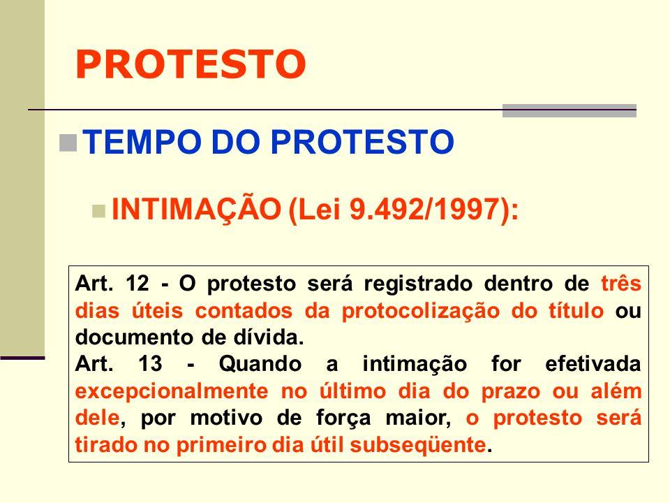 PROTESTO TEMPO DO PROTESTO INTIMAÇÃO (Lei 9.492/1997):