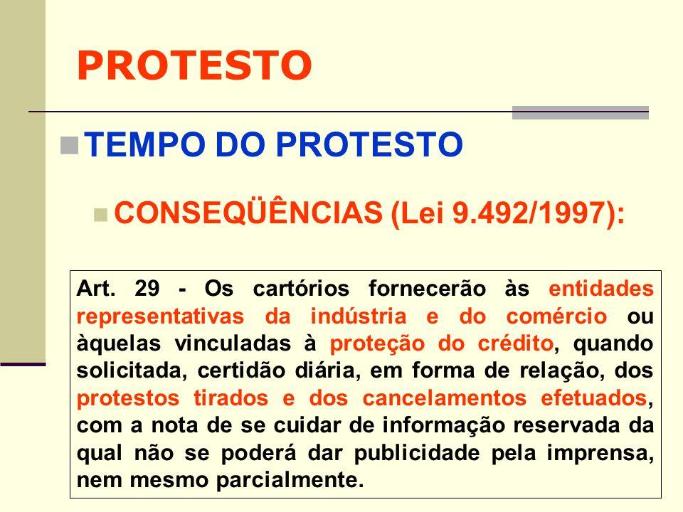PROTESTO TEMPO DO PROTESTO CONSEQÜÊNCIAS (Lei 9.492/1997):
