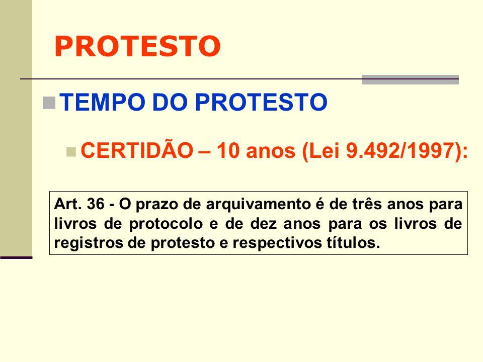 PROTESTO TEMPO DO PROTESTO CERTIDÃO – 10 anos (Lei 9.492/1997):