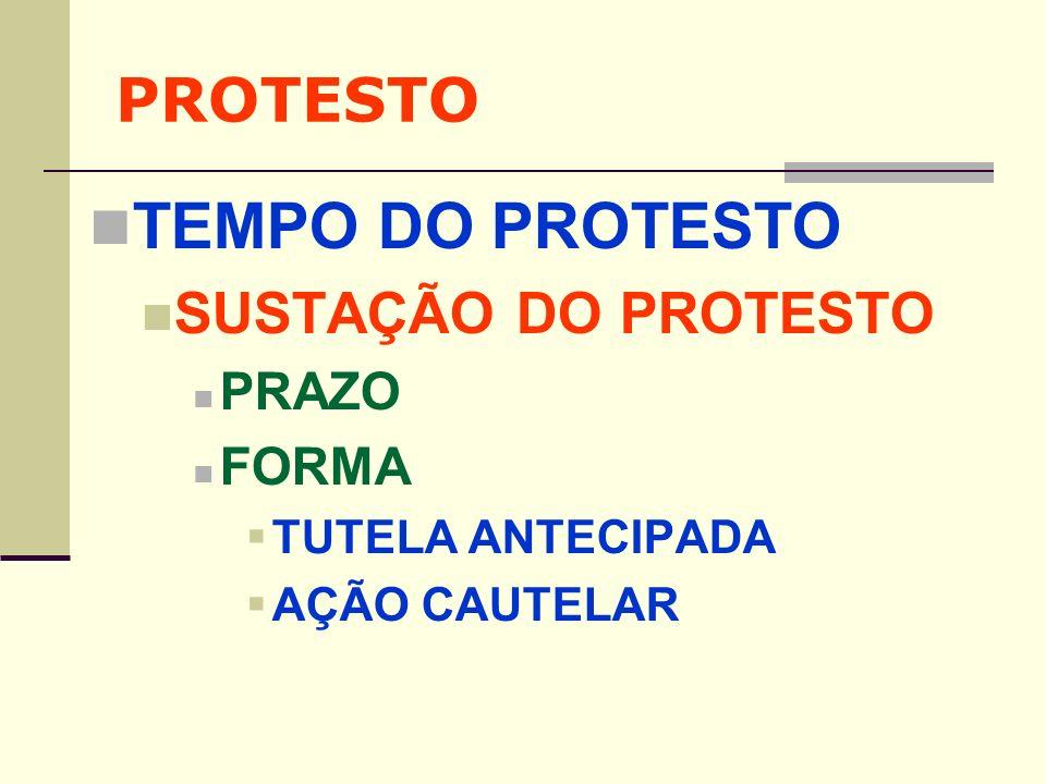 TEMPO DO PROTESTO PROTESTO SUSTAÇÃO DO PROTESTO PRAZO FORMA