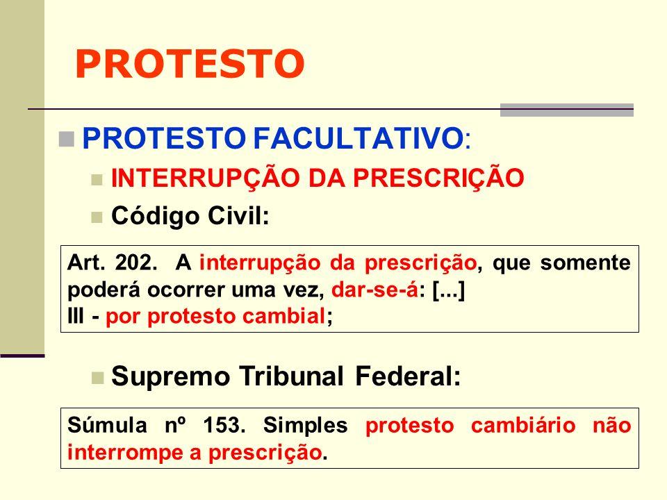 PROTESTO PROTESTO FACULTATIVO: Supremo Tribunal Federal: