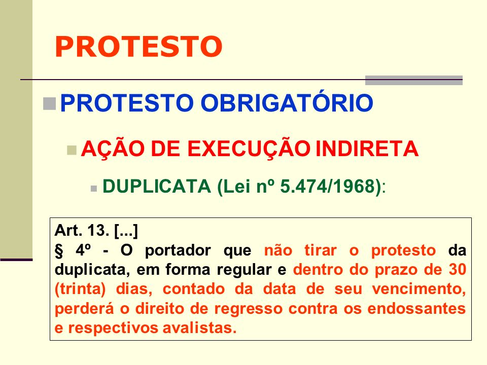 PROTESTO PROTESTO OBRIGATÓRIO AÇÃO DE EXECUÇÃO INDIRETA