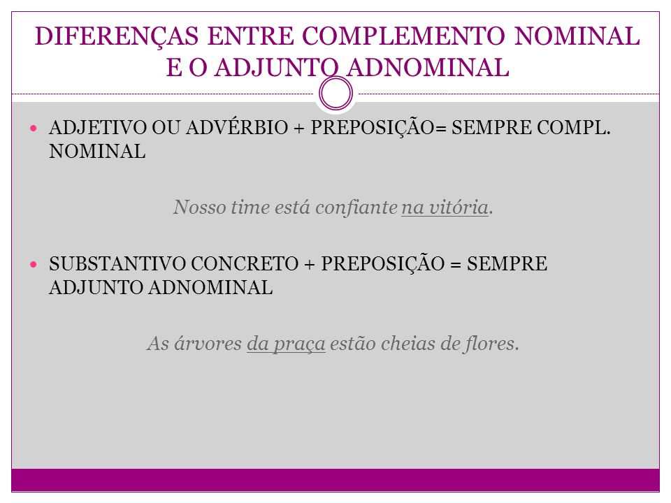 DIFERENÇAS ENTRE COMPLEMENTO NOMINAL E O ADJUNTO ADNOMINAL