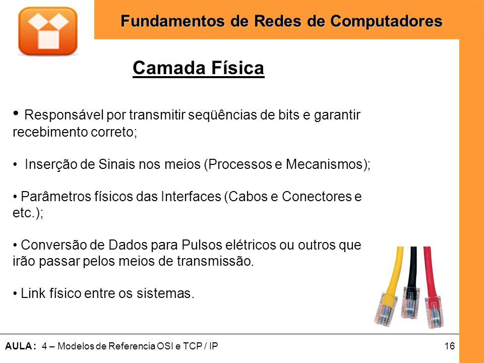 Camada FísicaResponsável por transmitir seqüências de bits e garantir recebimento correto; Inserção de Sinais nos meios (Processos e Mecanismos);