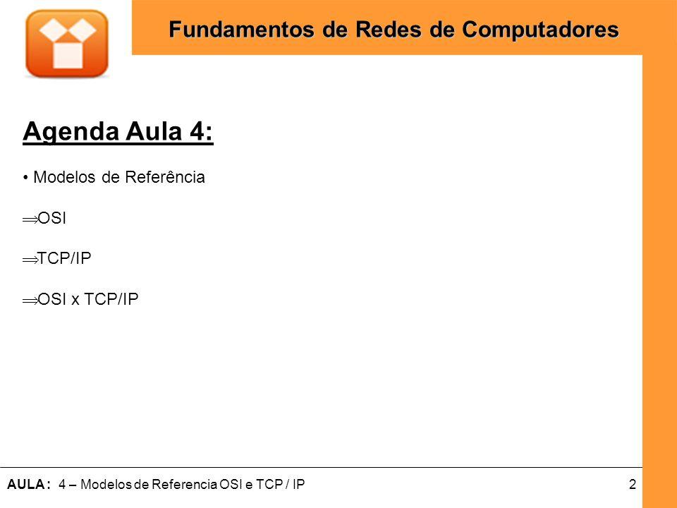 Agenda Aula 4: Modelos de Referência OSI TCP/IP OSI x TCP/IP