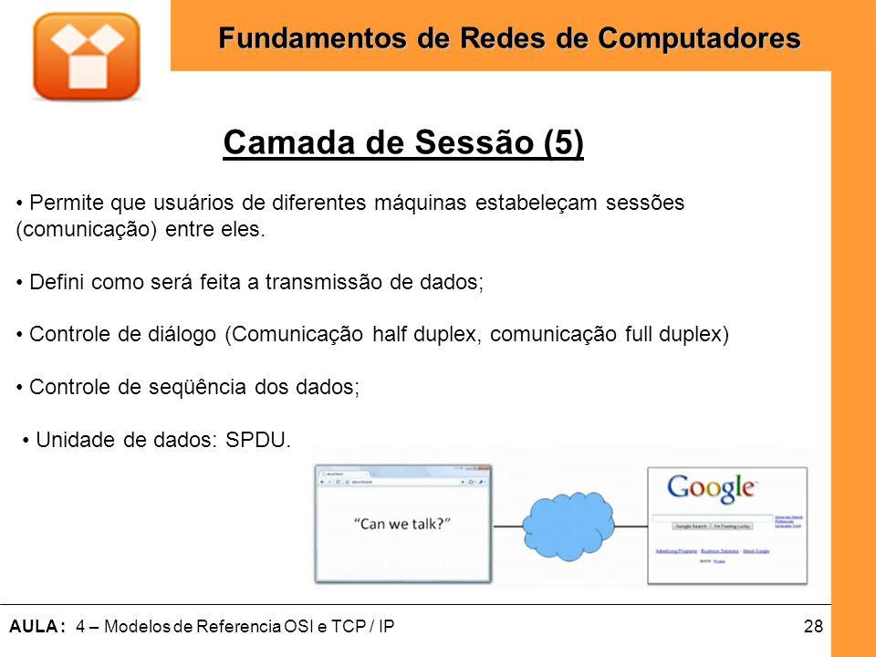 Camada de Sessão (5) Permite que usuários de diferentes máquinas estabeleçam sessões. (comunicação) entre eles.