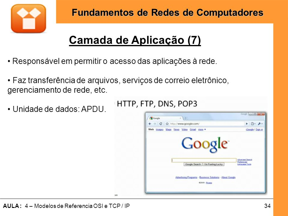Camada de Aplicação (7) Responsável em permitir o acesso das aplicações à rede. • Faz transferência de arquivos, serviços de correio eletrônico,