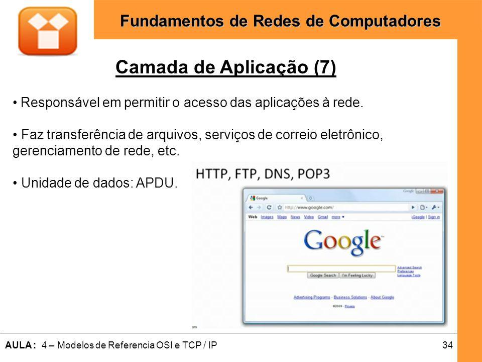 Camada de Aplicação (7)Responsável em permitir o acesso das aplicações à rede. • Faz transferência de arquivos, serviços de correio eletrônico,