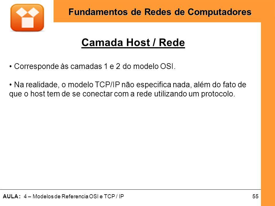 Camada Host / Rede • Corresponde às camadas 1 e 2 do modelo OSI.