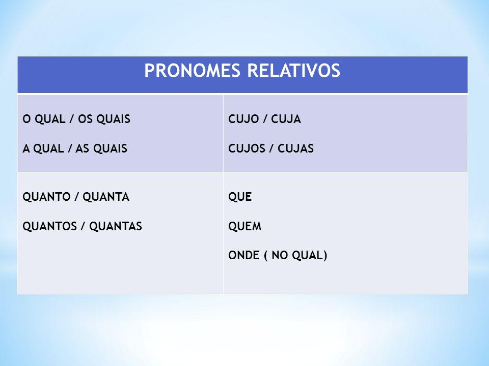 PRONOMES RELATIVOS O QUAL / OS QUAIS A QUAL / AS QUAIS CUJO / CUJA