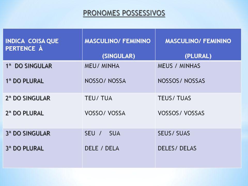 PRONOMES POSSESSIVOS INDICA COISA QUE PERTENCE À MASCULINO/ FEMININO