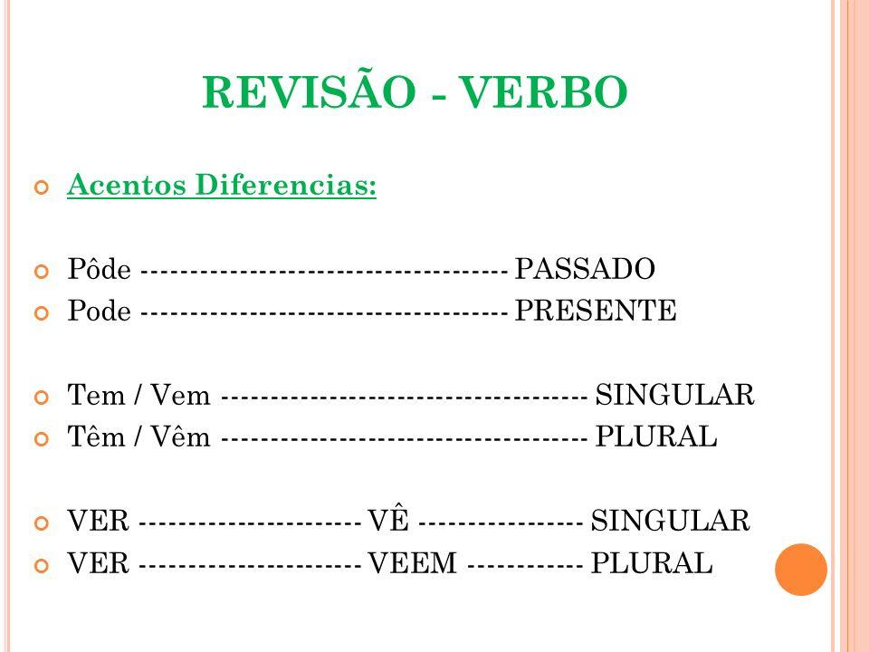 REVISÃO - VERBO Acentos Diferencias: