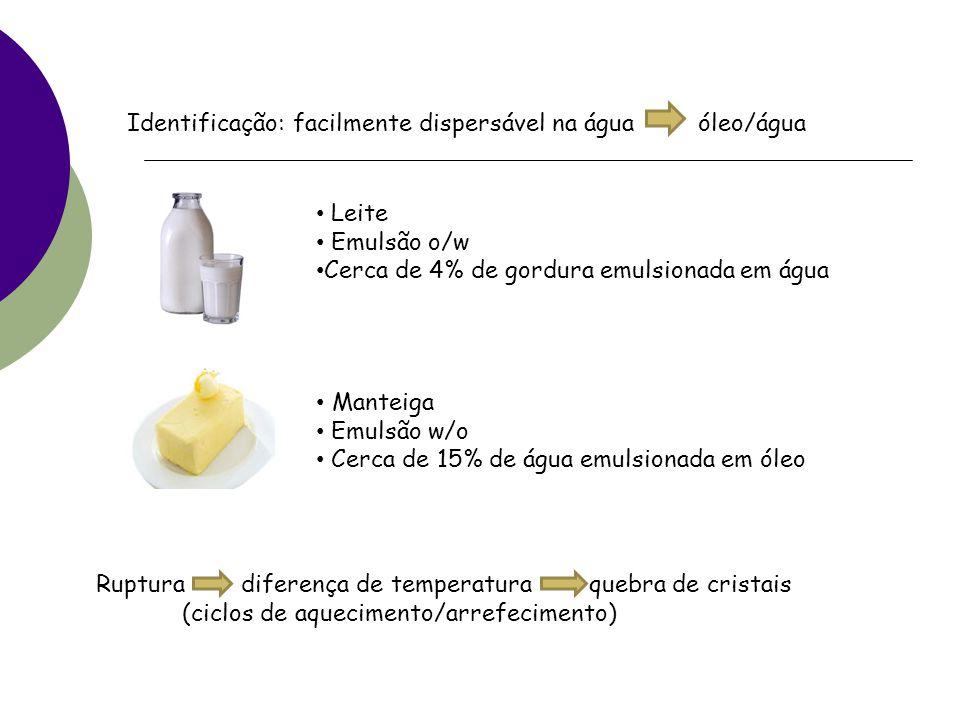 Identificação: facilmente dispersável na água óleo/água