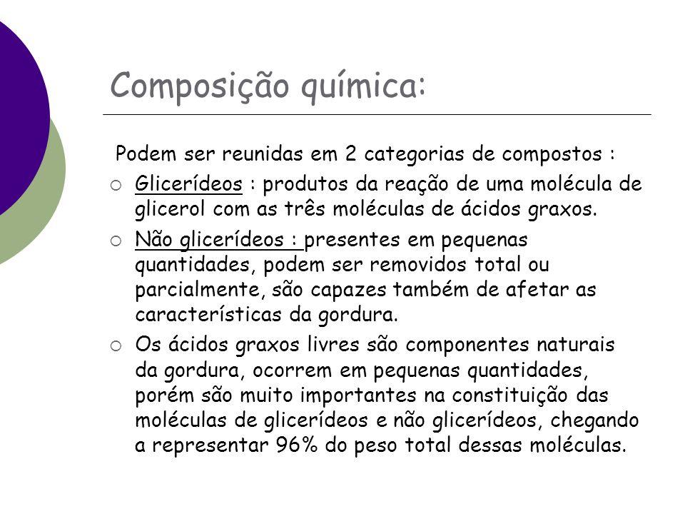 Composição química: Podem ser reunidas em 2 categorias de compostos :