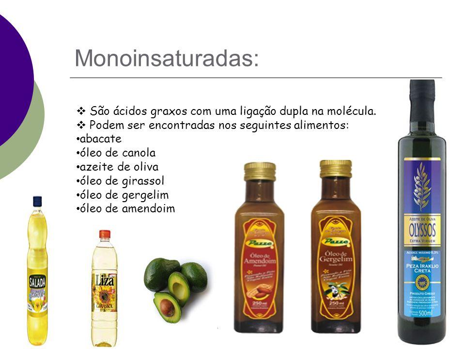 Monoinsaturadas: São ácidos graxos com uma ligação dupla na molécula.