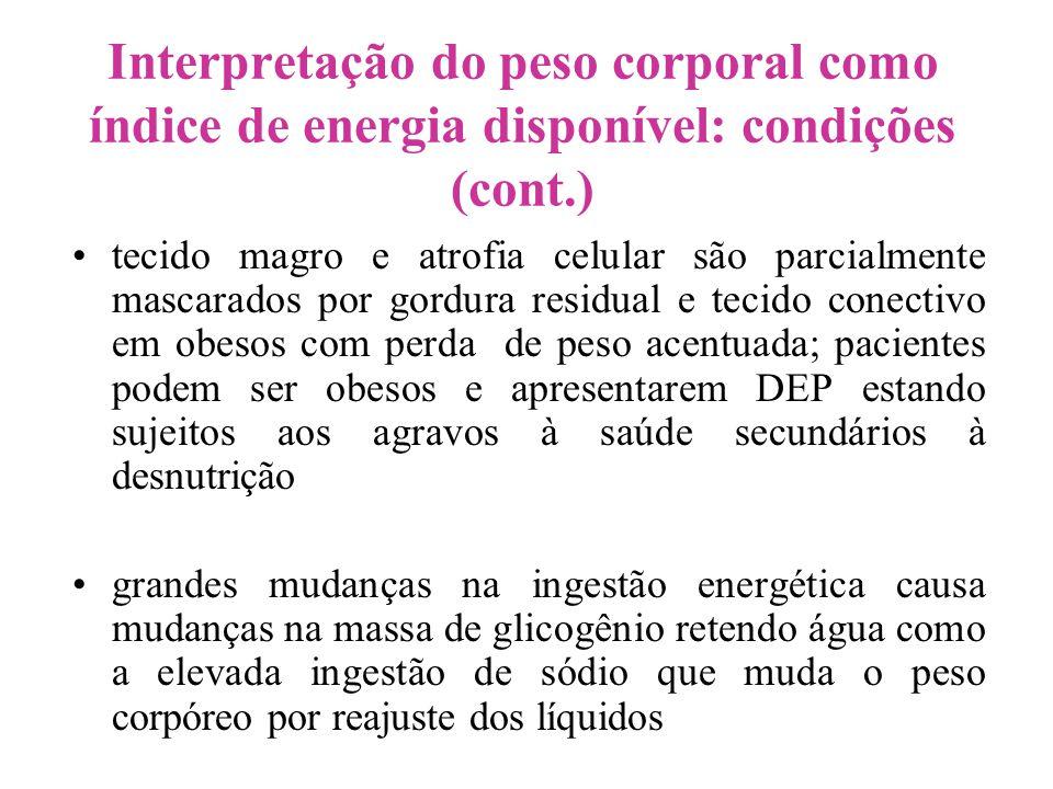 Interpretação do peso corporal como índice de energia disponível: condições (cont.)