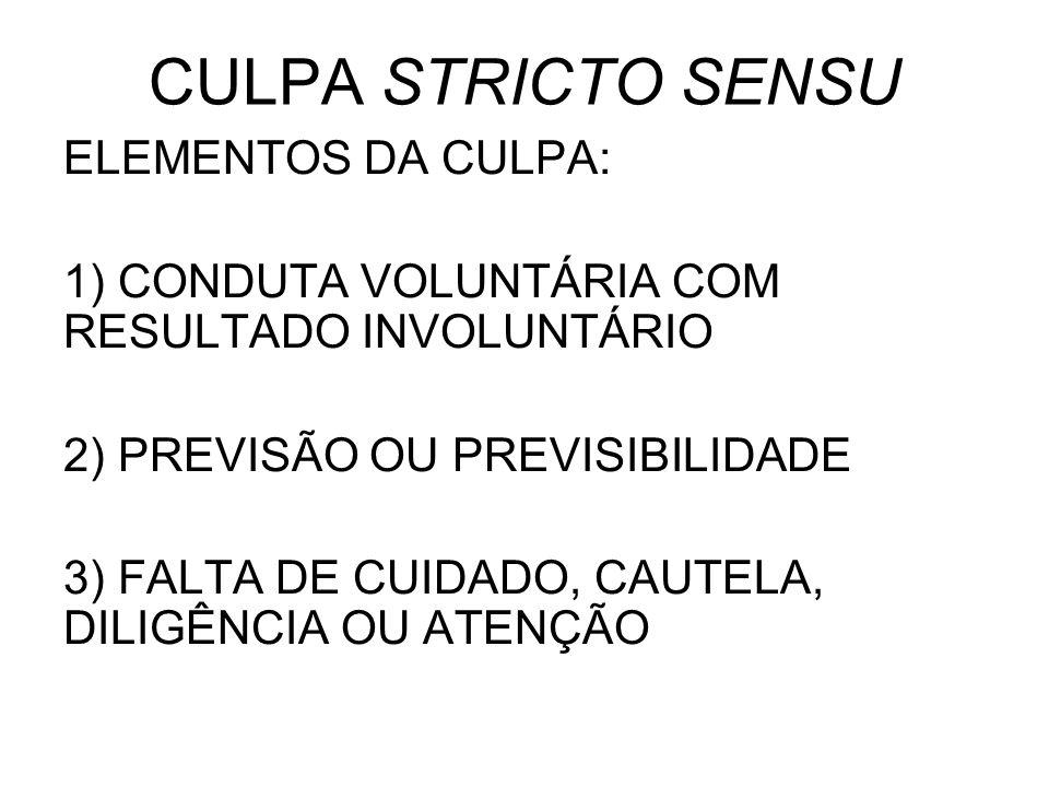 CULPA STRICTO SENSU ELEMENTOS DA CULPA: