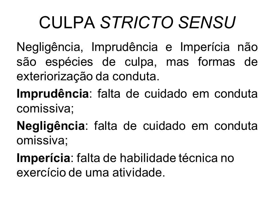 CULPA STRICTO SENSU Negligência, Imprudência e Imperícia não são espécies de culpa, mas formas de exteriorização da conduta.