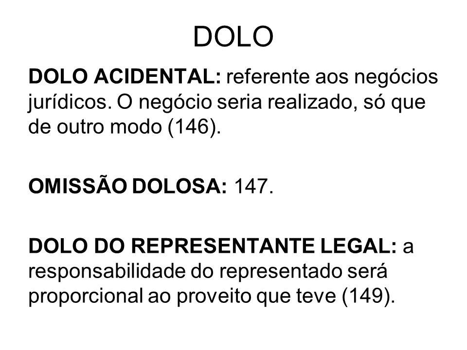 DOLO DOLO ACIDENTAL: referente aos negócios jurídicos. O negócio seria realizado, só que de outro modo (146).