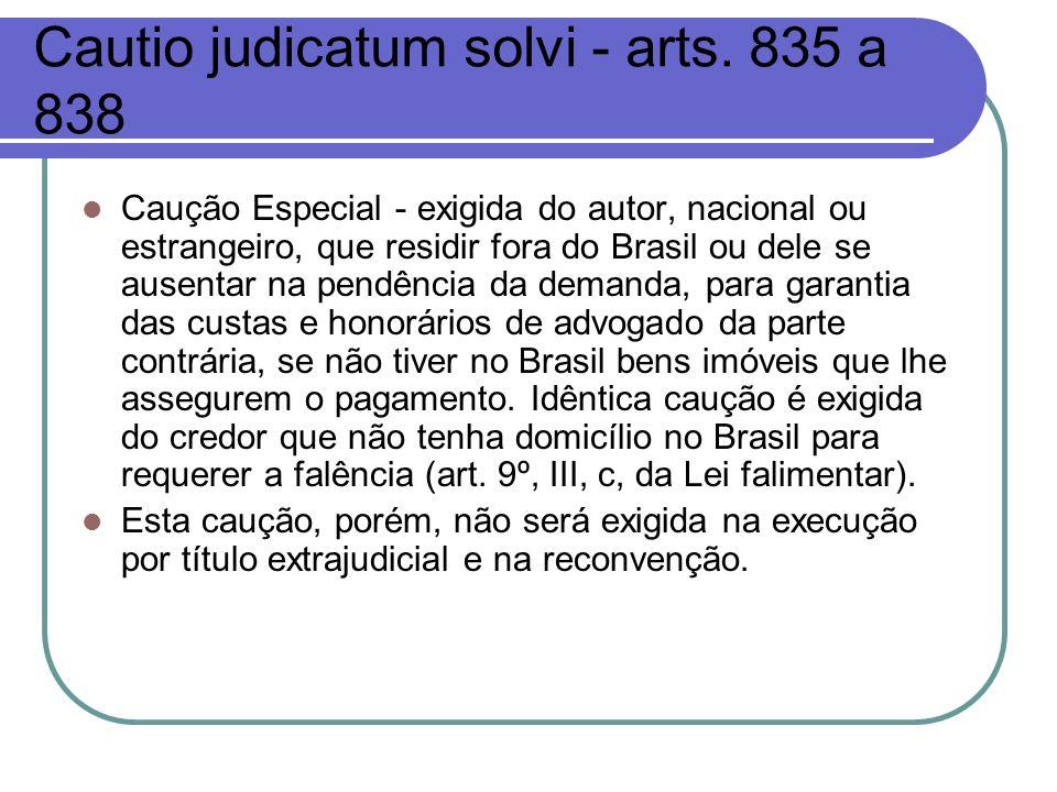 Cautio judicatum solvi - arts. 835 a 838