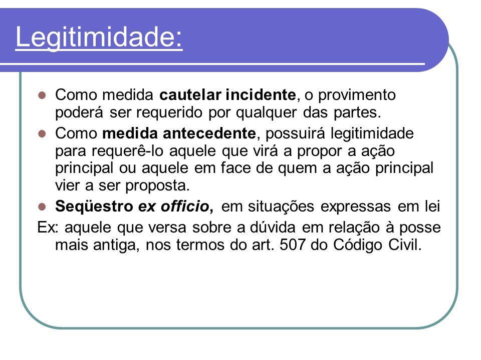 Legitimidade: Como medida cautelar incidente, o provimento poderá ser requerido por qualquer das partes.