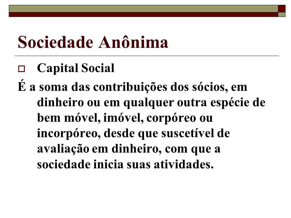 Sociedade Anônima Capital Social