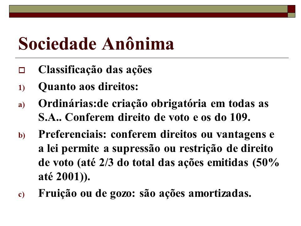 Sociedade Anônima Classificação das ações Quanto aos direitos: