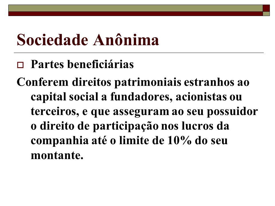 Sociedade Anônima Partes beneficiárias