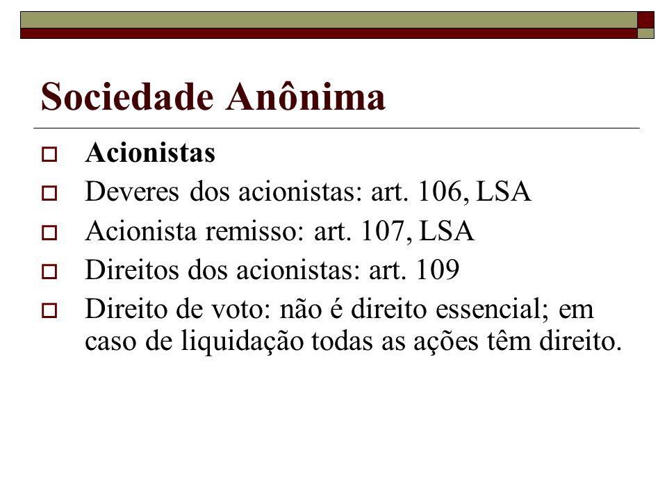 Sociedade Anônima Acionistas Deveres dos acionistas: art. 106, LSA
