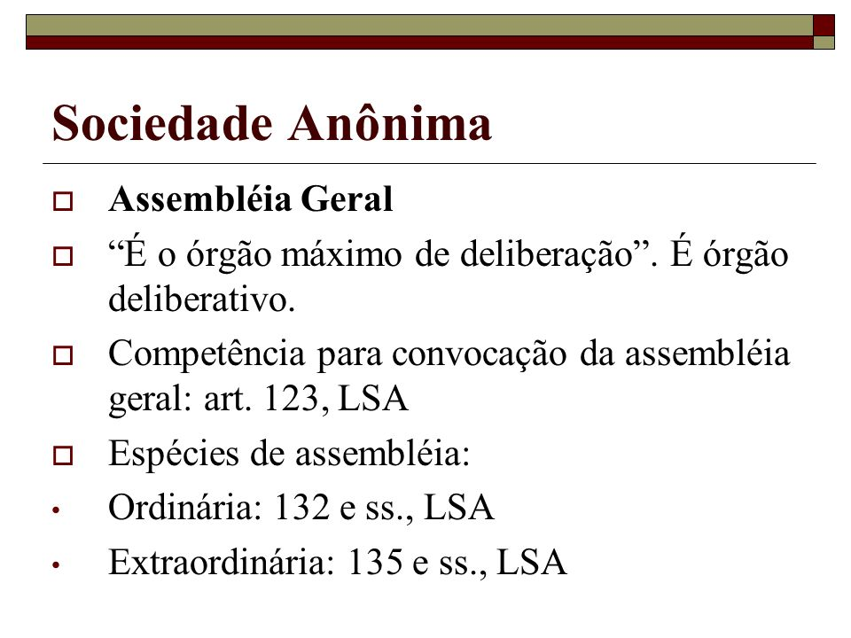 Sociedade Anônima Assembléia Geral
