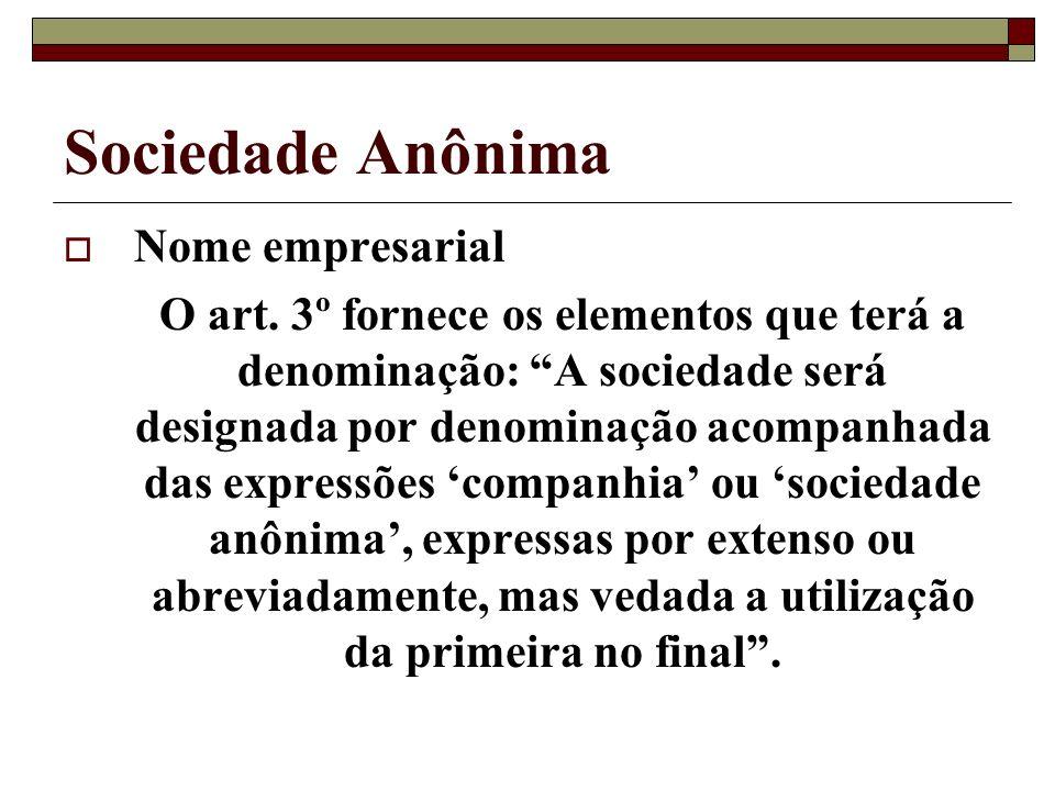 Sociedade Anônima Nome empresarial