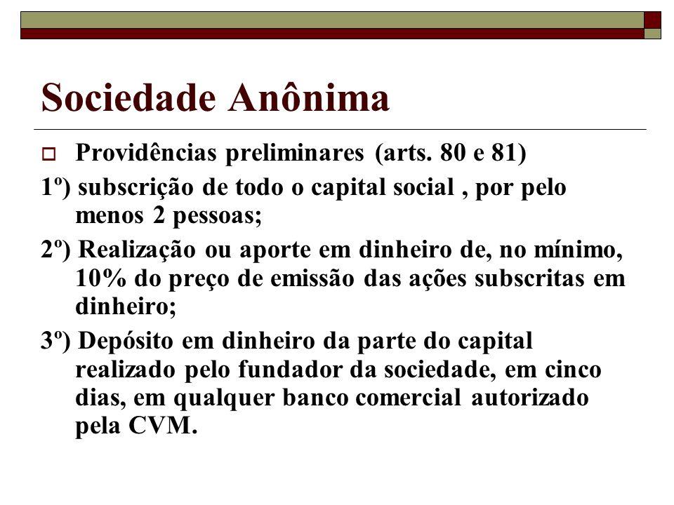Sociedade Anônima Providências preliminares (arts. 80 e 81)