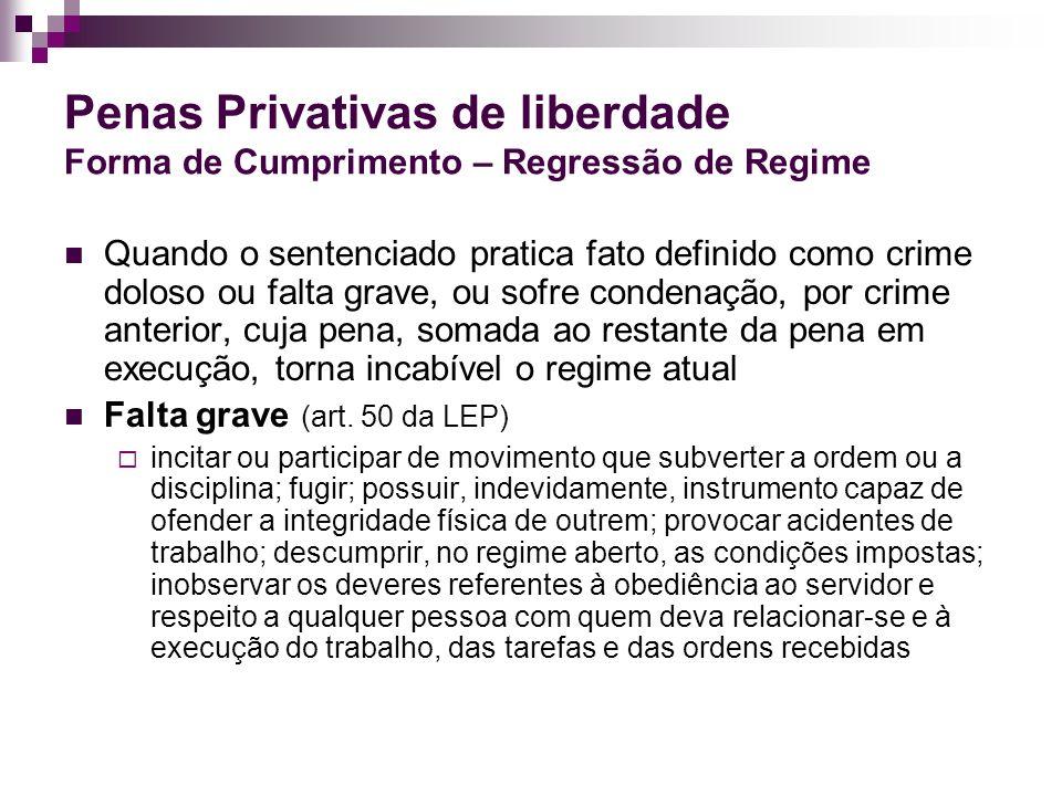 Penas Privativas de liberdade Forma de Cumprimento – Regressão de Regime