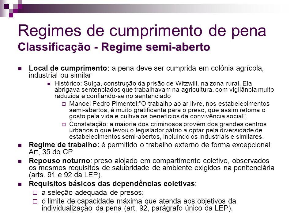 Regimes de cumprimento de pena Classificação - Regime semi-aberto