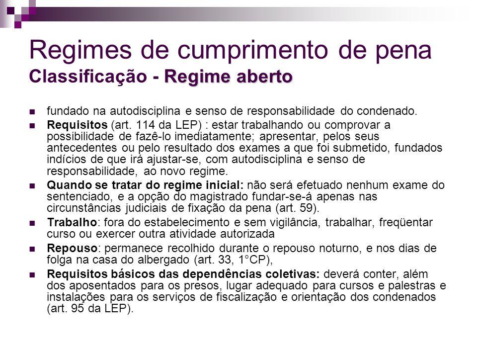 Regimes de cumprimento de pena Classificação - Regime aberto