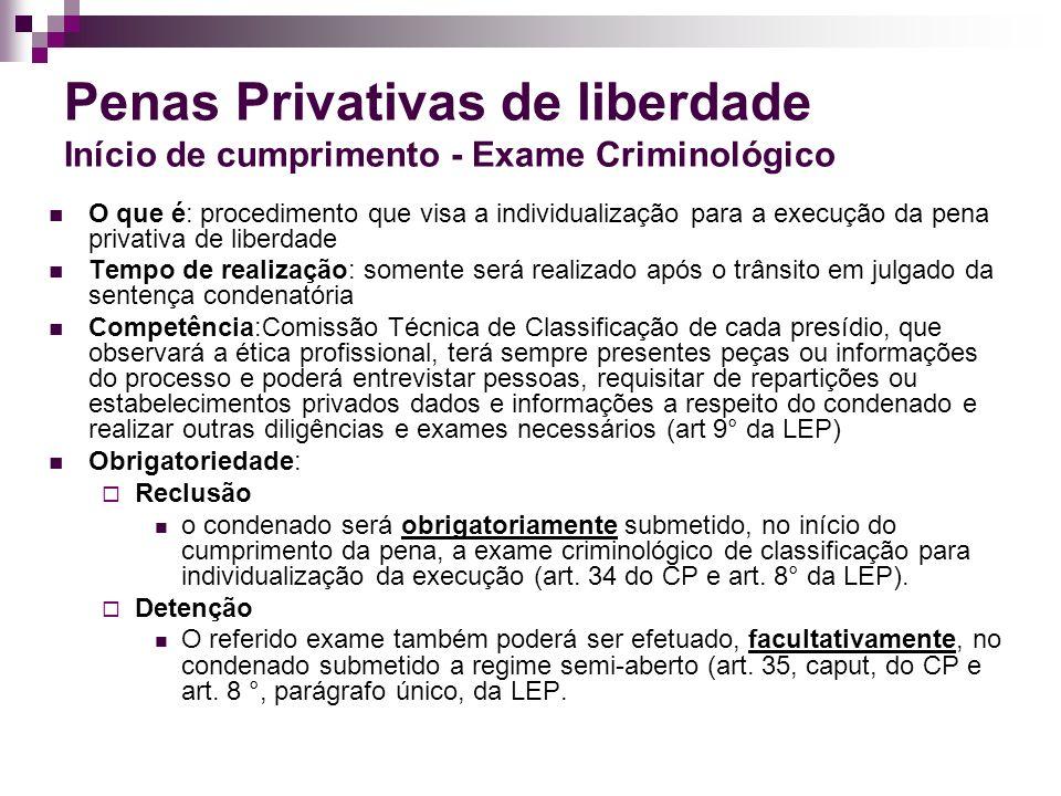 Penas Privativas de liberdade Início de cumprimento - Exame Criminológico